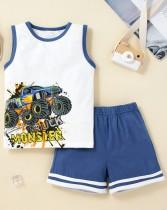 Kids Boy Summer Print Weste und Shorts 2-teiliges Set