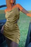 Conjunto de falda y top de tirantes ajustables sexy sólido de dos piezas de verano