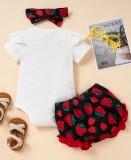 Set 3 pezzi di camicia e pantaloncini con stampa estiva da bambina con fascia abbinata