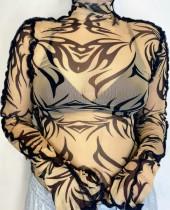 Camisa de manga larga sexy de malla con estampado de verano