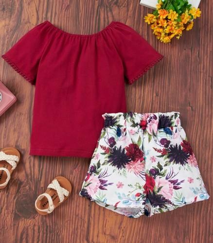 Conjunto de 2 peças de camisa infantil infantil verão sólido e shorts florais