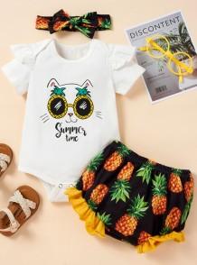Baby Girl Summer Print Shirt und Shorts 3-teiliges Set mit passendem Stirnband