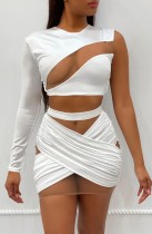 Summer Sexy Patch Single Sleeve Crop Top and Wrap Mini Skirt Set