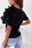 不規則なフリルスリーブが付いた夏のカジュアルなOネックレギュラーシャツ