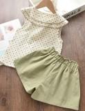 Детская летняя рубашка с принтом для девочек и однотонные шорты, комплект из 2 предметов