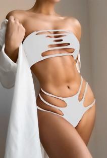 Roupa de banho sólida sexy oca de duas peças sem alças