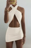 Summer Two Piece Solid Sexy Wrap Crop Top e Mini gonna arricciata