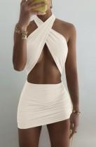 Summer White Wrap Oberes ausgeschnittenes Neckholder-Minikleid