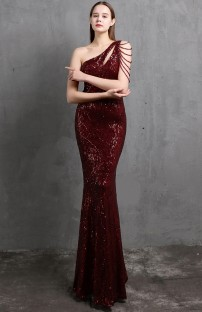 Vestido de noite formal de lantejoulas de um ombro só para sereia