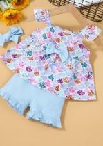 Kids Girl Summer Print Shirt und Solid Shorts 3-teiliges Set mit passendem Stirnband
