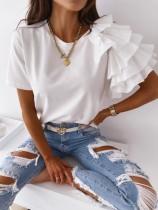 Sommer Casual O-Neck Regular Shirt mit unregelmäßigen Rüschenärmeln