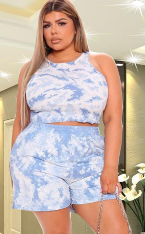 Summer Plus Size Casual Tie Dye Crop Top and Shorts Set