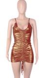 Mini abito estivo metallizzato con corde increspate