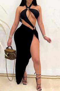 Summer Black Sexy Hollow Out Irregular Halter Long Party Dress