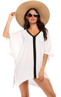 Vestido curto para mangas de morcego de verão com decote em V