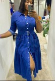 Spring Casual Long Sleeve Blue Denim Skater Dress with Belt