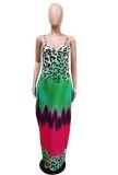 Maxi abito lungo con cinturino multicolore estivo