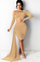Sommer Solid Sexy Hollow Out One Shoulder Bodycon Kleid
