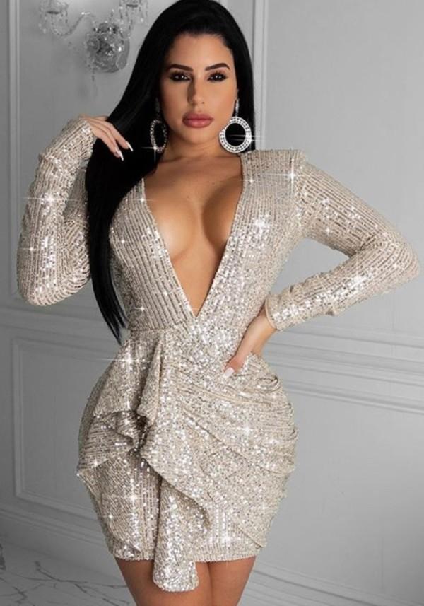 Bahar Payetli Uzun Kollu Derin V Bodycon Elbise