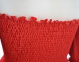 Robe patineuse taille haute rouge à épaules dénudées d'été grande taille