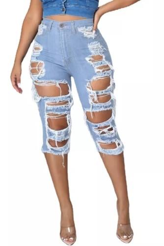 Summer Knee Length Light Blue High Waist Ripped Denim Shorts