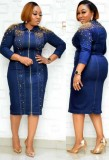 Spring Mother of the Bride Beaded Denim Blue Midi Dress