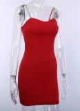 Vestito da mini club con cinturino in catene sexy rosso estivo