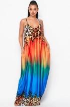 Robe longue d'été à bretelles multicolores