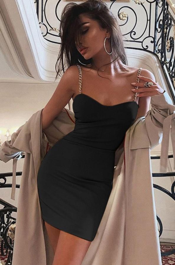 Vestito da mini club con cinturino sexy nero estivo
