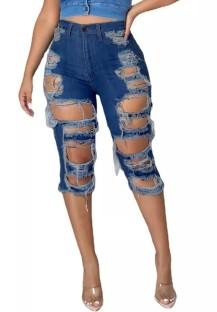 Pantaloncini di jeans strappati a vita alta blu scuro al ginocchio estivi