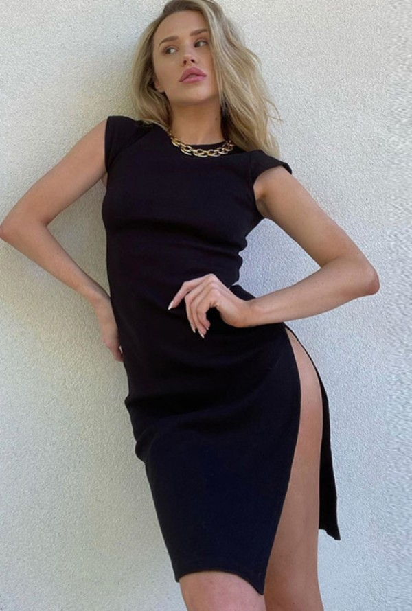 Abito da sera sexy con spacco laterale nero estivo
