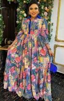 Vestido largo largo floral de la madre de la novia de verano