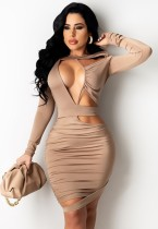 Summer Solid Sexy Hollow Out Ruched Bodycon Dress