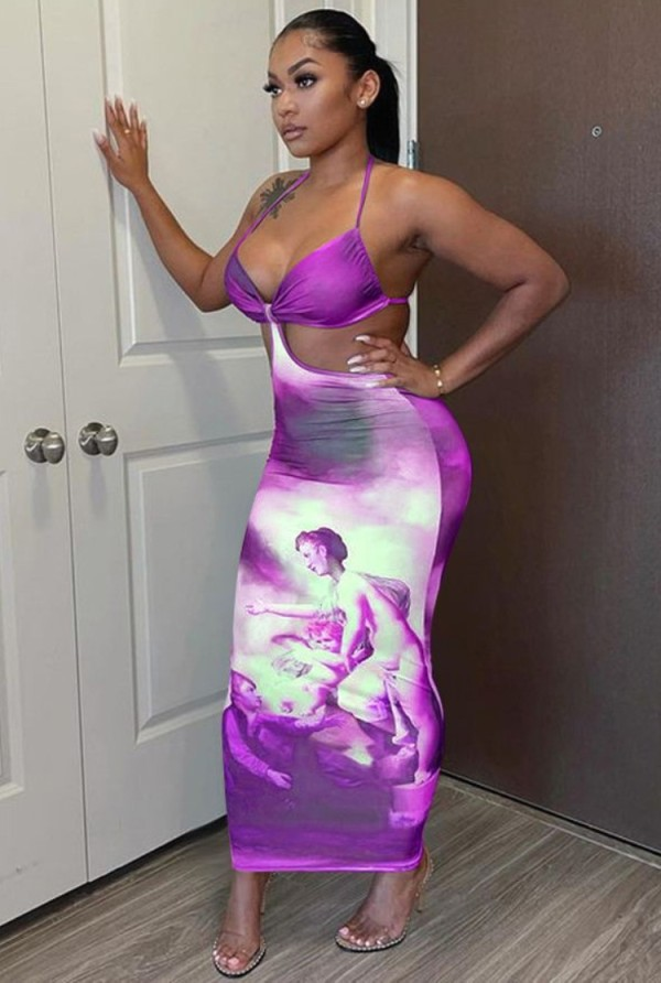 Summer Tie Dye Print Sexy Hollow Out Halter Abito da festa lungo