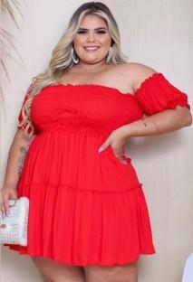 Summer Plus Size Red Off Shoulder High Waist Skater Dress