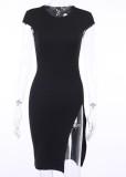 Vestido de festa verão preto sexy com fenda lateral