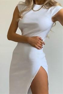 Vestido de festa branco sexy com fenda lateral