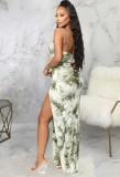 Vestido longo formal de verão com alça com fenda lateral