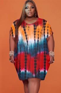 Летнее повседневное платье-рубашка больших размеров с круглым вырезом и принтом тай-дай