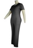 Set 2 pezzi di top e pantaloni neri formali estivi taglie forti
