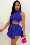 Summer Blue Sexy Crop Top e Shorts 2 pezzi Set