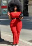 Set 2 pezzi con top e pantaloni formali rossi taglie forti estive