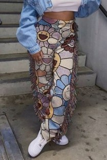 Pantalon à pampilles africaines imprimé décontracté printemps