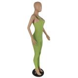 Summer Green Wide Strap Zip Up Bodycon Denim Jumpsuit