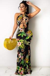 Vestido longo de verão sexy com renda floral com cabeçada