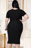 Vestido midi anudado con corte sexy negro de talla grande de verano