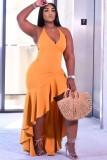 Abito lungo con scollo all'americana irregolare arancione formale estivo
