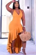 Sommer formale Orange unregelmäßige Rüschen Halfter langes Kleid