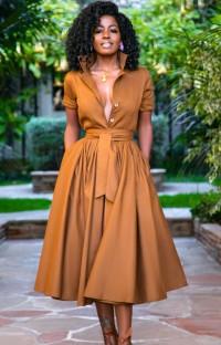 Летнее коричневое формальное длинное платье с плиссированной юбкой с поясом