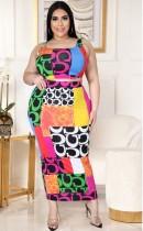 Summer Plus Size Print Sexy Crop Top y Conjunto de falda larga